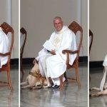 บาทหลวงยิ้มให้กับความไร้เดียงสาของเจ้าตูบ ที่เข้ามาเล่นกับเขาขณะทำพิธีในโบสถ์