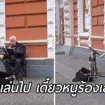 'สุนัขจรจัด' ร้องเพลงเรียกลูกค้าให้คุณลุงที่เล่นดนตรีข้างถนน ลุงจึงพามันกลับบ้านด้วย