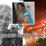 """""""ยายเจ๊ะมีนะ"""" วัย 65 ปี ผู้วิ่งฝ่าเปลวเพลิงช่วยชีวิตหมาแมว ถูกไฟลวก..เสียชีวิตแล้ว"""