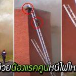 แรคคูน 2 ตัวติดอยู่บนหลังคาไฟไหม้ หน่วยกู้ภัยจึงต่อบันไดให้น้องได้ปีนลงมา