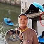 นักเรียนไทยน้ำใจงาม เห็นลูกแมวจะจมน้ำกลางคลอง รีบพายเรือไปช่วยชีวิตน้อง!!